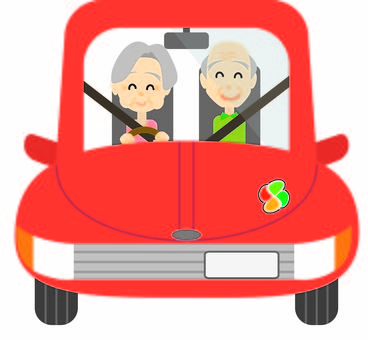 Elderly driver couple ☆ driving woman