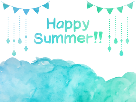 Water color hand-drawn summer color material set (PNG transmission)