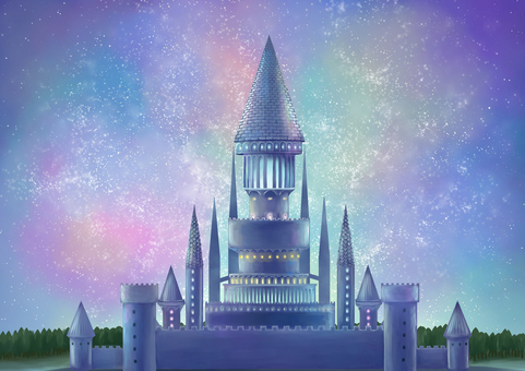 滿天星斗的天空和城堡