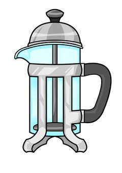 French press (silver lid)