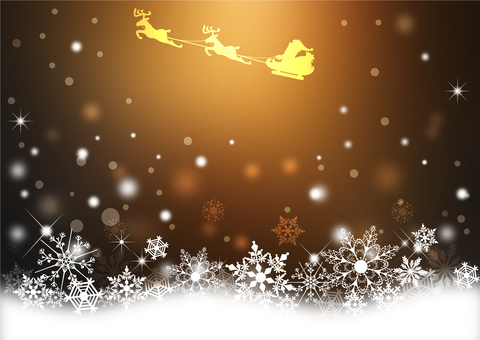 Snow Crystals and Santa _ Brown Background 2164