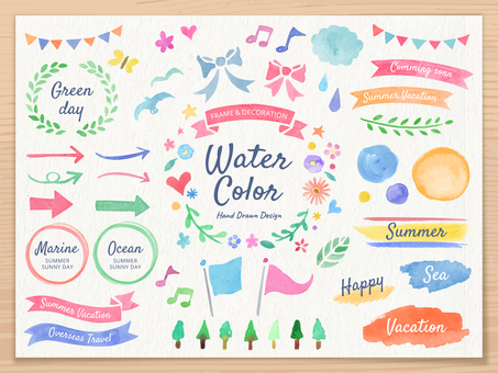 Watercolor handwriting frame and decoration set