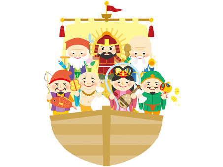 Seven Lucky Gods riding the treasure ship