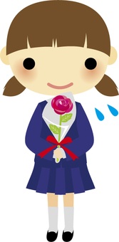 A girl giving flowers