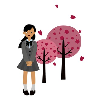 Cherry blossom and female student
