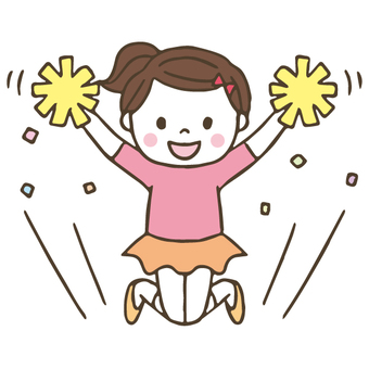 Cute girl to cheer / hand-painted cheerleader