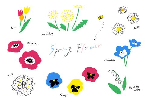 Spring flowers / hand-drawn wind
