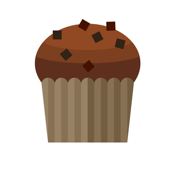 Simple illustration of chocolate muffin