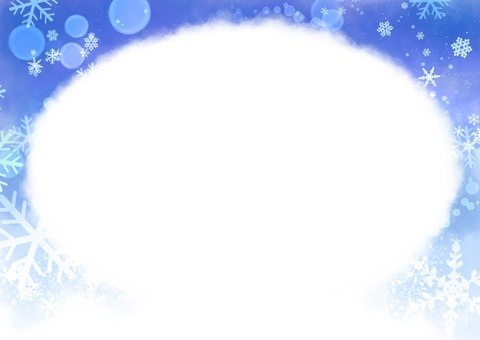 Clean winterscape color round frame