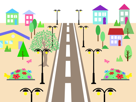 Streetscape scenery of straight road