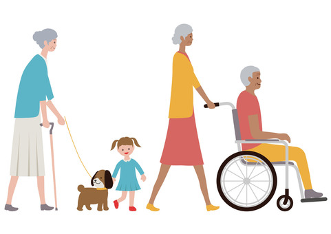 Elderly people illustration set