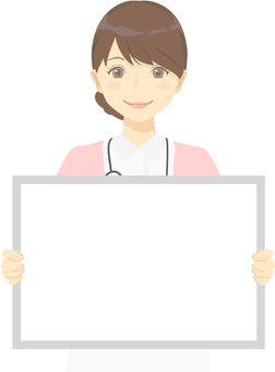 간호사의 여성 화이트 보드