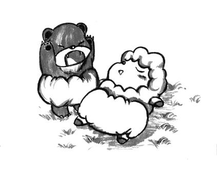Bear and sheep