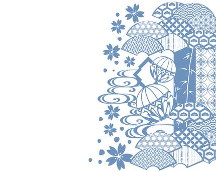 Pop Japanese pattern monochrome blue