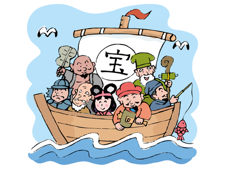 Treasure boat and Seven Lucky gods