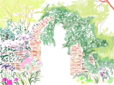 Flower arch landscape