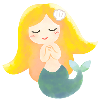 Mermaid princess praying