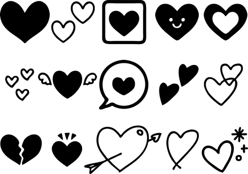 Assorted heart silhouettes