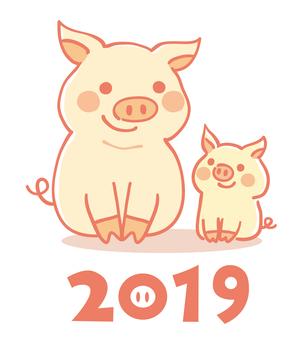 2019 亥 New Year's card material 02