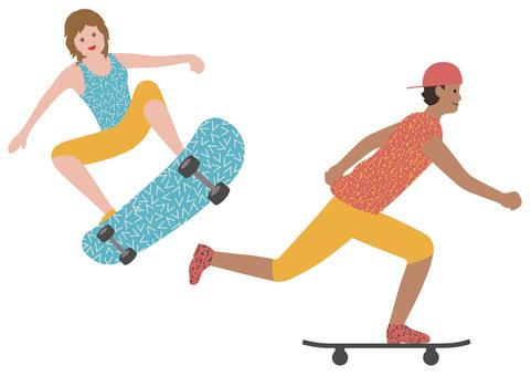 스케이트 보더의 그림 세트