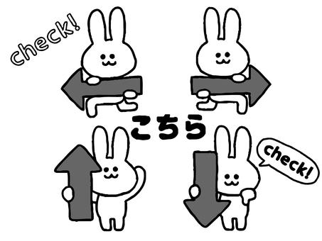 Arrow rabbit set (simple animal black and white)