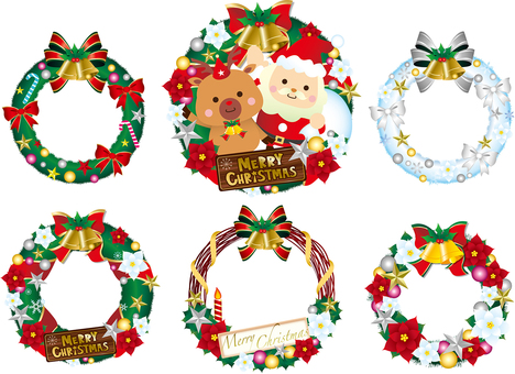 Christmas wreath illustration collection