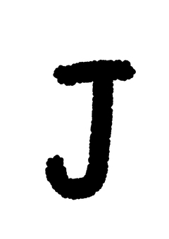 Handwritten alphabet J crayon style