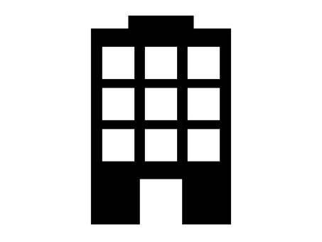 Building silhouette icon rooftop entrance
