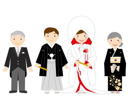 Japanese style wedding family photos