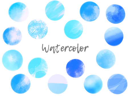 Watercolor material set 04 / blue