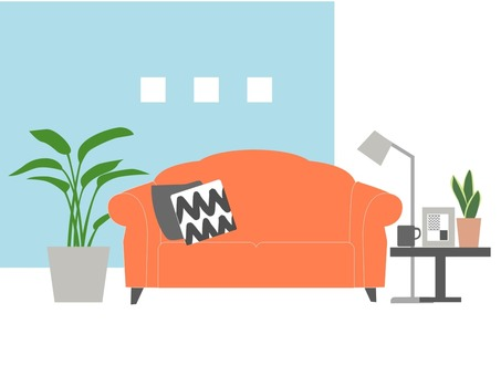 Room with orange sofa and ornamental plants