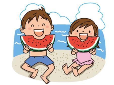 해변, 수박, 아이