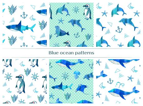 青の生き物パターン