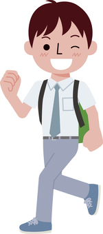 Boy student in summer clothes walking with a backpack-1