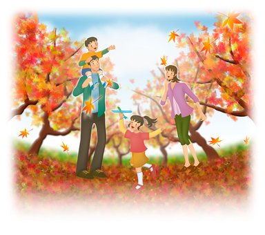 View of autumn leaves and family