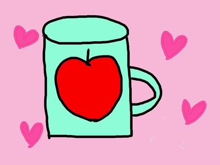 사과 컵 하트