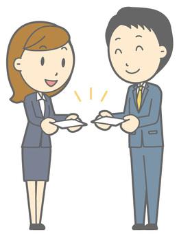 Suit Men & Women - Business Card Exchange - Full Length