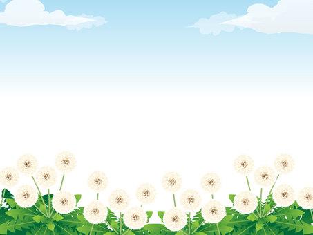민들레 솜털의 푸른 하늘 프레임