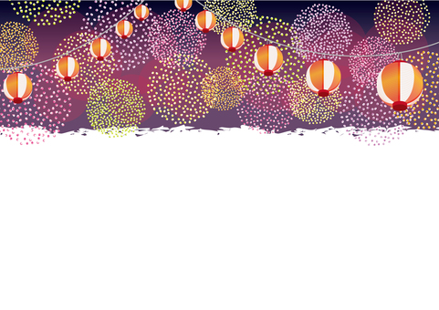 Fireworks-like polka dots and lanterns