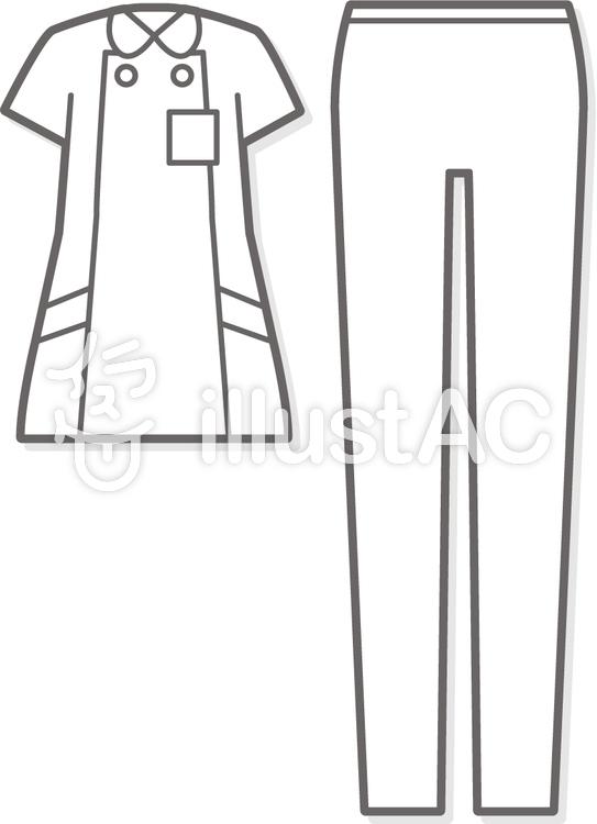 ナース服_白衣ズボン-upのイラスト