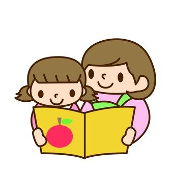 Girls and mothers · Reading books