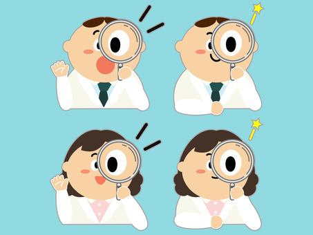 White coat men and women with magnifying glass set