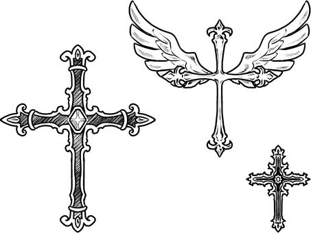 白黒十字架・手書き