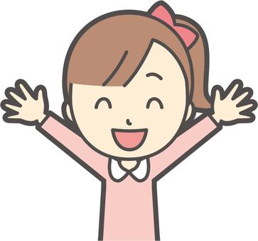 Girl pink long sleeve -104- bust