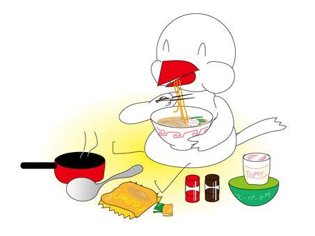 Little bird who loves ramen