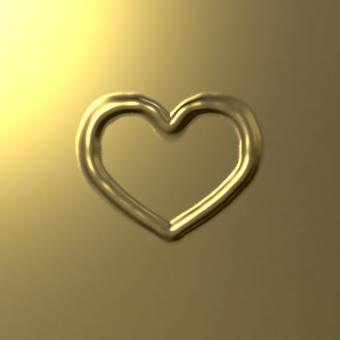 Heart mark - golden metal plate