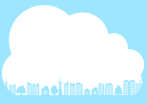 Cloud frame frame of blue sky and smart city