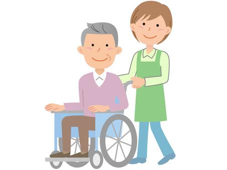 60116. Male wheel chair, helper 2