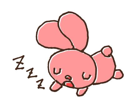 귀여운 자고있는 토끼의 일러스트