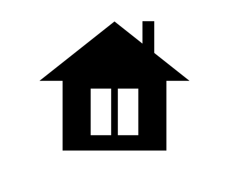 House silhouette icon vertical window chimney